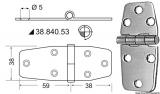 Edelstahlscharniere, Stärke 2,5 mm Maße 97x38mm