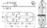 Edelstahlscharniere, Stärke 2,5 mm Maße 127x40mm