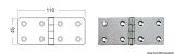 Edelstahlscharniere, Stärke 2,5 mm Maße 110x45mm