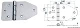 Scharnier aus hochglanzpoliertem rostfreien Edelstahl AISI 316 180x100mm