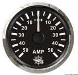 Amperemeter 50-0-50 Anzeige schwarz Blende poliert