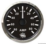 Amperemeter 80-0-80 Anzeige schwarz Blende poliert