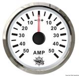 Amperemeter 50-0-50 Anzeige weiß Blende poliert