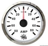 Amperemeter 80-0-80 Anzeige weiß Blende poliert