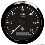 Drezahlmesser 0-6000 U/min mit Betriebsstundenzähler Anzeige schwarz Blende schwarz