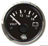 Voltmeter 8 bis 16 V Anzeige Anzeige schwarz Blende poliert