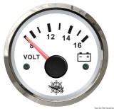 Voltmeter 8 bis 16 V Anzeige Anzeige weiß Blende poliert