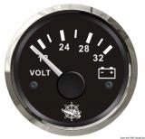 Voltmeter 18 bis 32 V Anzeige Anzeige schwarz Blende poliert