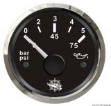Öldruckanzeige 0 bis 5 bar Anzeige schwarz Blende poliert