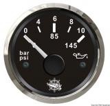 Öldruckanzeige 0 bis 10 bar Anzeige schwarz Blende poliert
