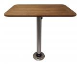 Tisch Teak-1 aus Teakholz mit Alu Tischbein und Montagefuß 370 x 600mm
