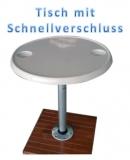 Tisch - rund aus Vollkunststoff mit Alu Tischbein und Montagefuß 610mm