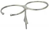 Glashalter für 2 Gläser aus hochglanzpoliertem rostfreiem Stahl AISI 316.