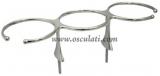 Glashalter für 3 Gläser  aus hochglanzpoliertem rostfreiem Stahl AISI 316.