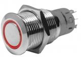 NIRO Druckschalter mit LED Ring 18mm Rot Taster 12V