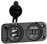 Digitaler Spannungsmeter digitales Voltmeter mit USB Steckdose 2 x 2,4A