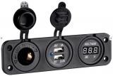 Digitaler Spannungsmeter digitales Voltmeter mit USB Steckdose 2 x 2,4A und Steckdose