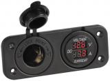 Digitaler Spannungsmeter, digitaler Amperemeter und Steckdose