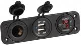 Digitaler Spannungsmeter, digitaler Amperemeter mit USB Steckdose 2 x 2,4A und Steckdose