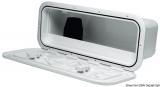 Aufbewahrungsfach mit Frontklappe aus weißem ABS, 1 Fach Frontmaße 600x250 mm