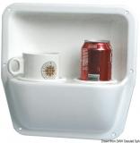 Seitenfach aus weißem, glänzenden ABS, 290x290 mit Glashalter