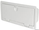 Ablage aus weißem, glänzenden ABS zum Wandeinbau, 190x490  mm