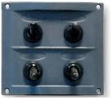 Schalttafel 12 V mit 4 Schaltern schwarze Kunststoff-Schalttafel BBN1
