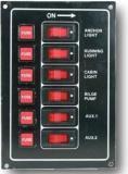 Schalttafel 12V 6 beleuchtete Schaltern  Aluminium BBN13