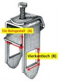 Befestigungsklammer für Rollen Gestell: 60mm Kastenprofil: 40mm