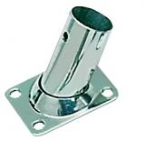 Relingstütze Rechteckige Grundplatte, 56x42 mm, 60° Schrägstellung, für Rohr ø 22mm