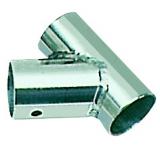 Relingstütze Grundplatte geneigtes T, 60° Schrägstellung, für Rohre ø 25mm