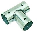 Relingstütze Grundplatte geneigtes T, 90°, für Rohre mit 25mm