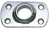 Rechteckiger Relingstützenhalter, rostfreier Edelstahl AISI 316, 60° Schrägstellung, für Rohre ø 22mm