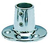 Runder Relingstützenhalter, rostfreier Mikrofusions-Edelstahl AISI 316, 90° Schrägstellung, für Rohre ø 22mm