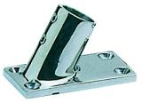 Rechteckiger Relingstützenhalter, rostfreier Mikrofusions-Edelstahl AISI 316, 60° Schrägstellung, für Rohre ø 25mm