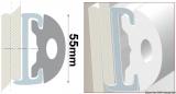 PVC-Einlege Profil 55mm Farbe weiss für die Grundschiene 44.055.05