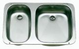 Doppelspüle Außen 575x370mm aus poliertem Edelstahl