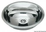Runde Spülen aus hochglanzpoliertem Edelstahl. Außenmaß Durchmesser 387mm