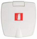 Feuerlöscherfach aus ABS weiß Außen 87x94mm Version Mit Feuerlöscher-Zeichnung