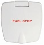 Feuerlöscherfach aus ABS weiß außen 87x94mm Version Mit Beschriftung Fuel Stop