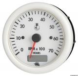 Drehzahlmesser Diesel 0-4000 Umin, mit Zähler  Linie GUARDIAN Anzeige weiß Blende weiß 12V