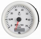 Drehzahlmesser 2/4 Takt 0-7000 Umin mit Betriebstundenzähler   Linie GUARDIAN Anzeige weiß Blende weiß 12V
