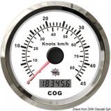 GPS Geschwindigkeitsmesser  Typ 1 Anzeige weiß, Ring Edelstahl Kein Geber notwendig.