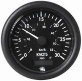 Geschwindigkeitsmesser  0-30 Knoten Anzeige schwarz Blende schwarz 12V
