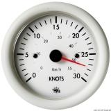 Geschwindigkeitsmesser  0-30 Knoten Anzeige weiß Blende weiß 24V