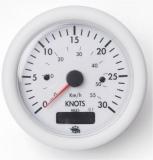 Geschwindigkeitsmesser  0-30 Knoten mit Meilenzähler Anzeige weiß Blende weiß 12V