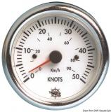 Geschwindigkeitsmesser  0-50 Knoten Anzeige weiß Blende weiß 12V