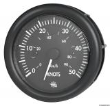 Geschwindigkeitsmesser  0-50 Knoten Anzeige schwarz Blende schwarz 12V