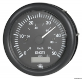 Geschwindigkeitsmesser  0-50 Knoten mit Meilenzähler Anzeige schwarz Blende schwarz 12V