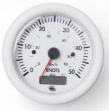 Geschwindigkeitsmesser  0-50 Knoten mit Meilenzähler Anzeige weiß Blende weiß 24V